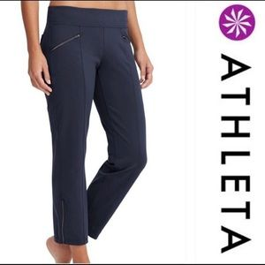 Athleta Metro Navy Zip Ankle Crop Leggings XXS